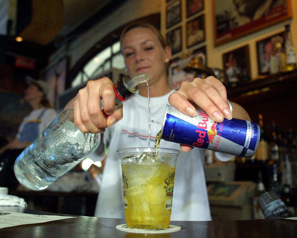 woman making drink