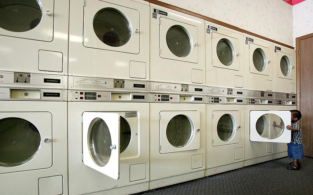 row of laundry machines