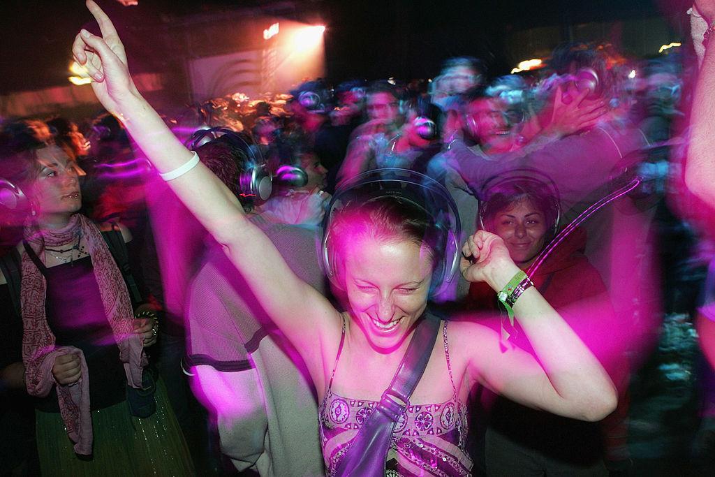 drunk girl listening to music