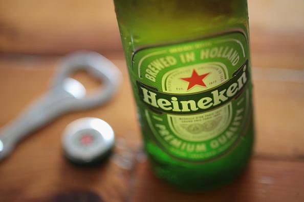 glass bottle of Heineken beer