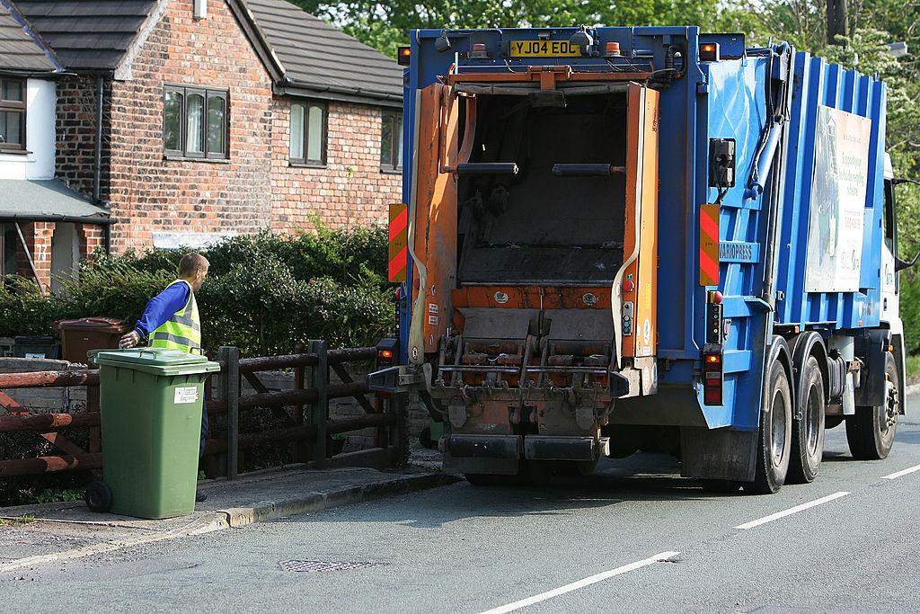 garbage truck in street