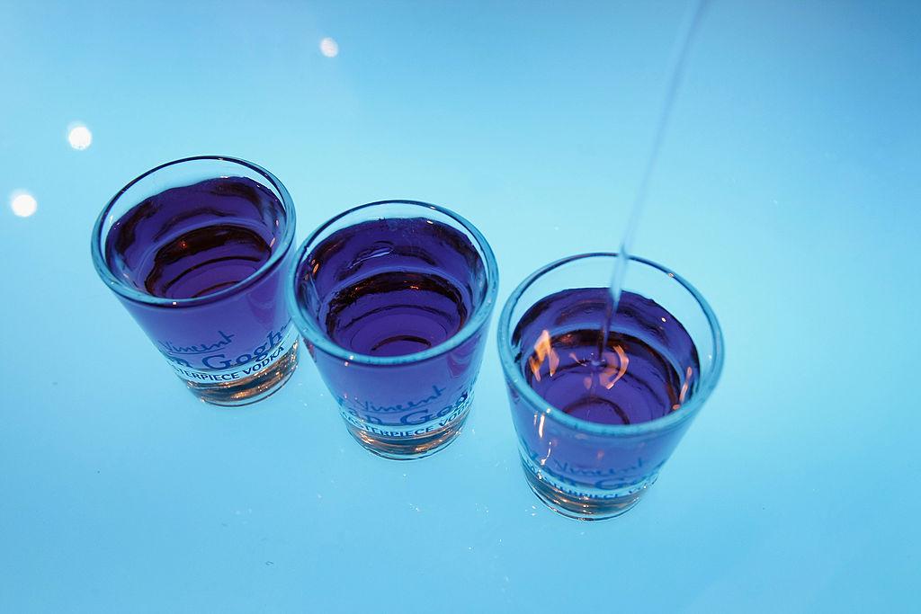 shot glasses full of liquor