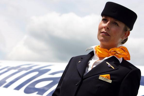 flight attendant outside of plane