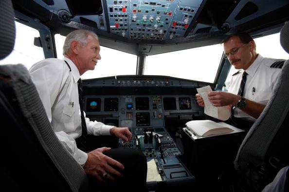 pilots sitting in plane